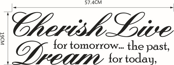 Cherish the past Dream Tomorrow Live For Today Inspirational Quotes Wall Decal words sticker decor lettering wall art