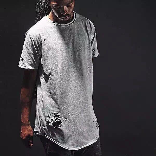 Atacado-streetwear kpop mens hip hop roupas extra longas camisetas para homens tshirt liso branco / vermelho / preto angustiado camiseta estendida