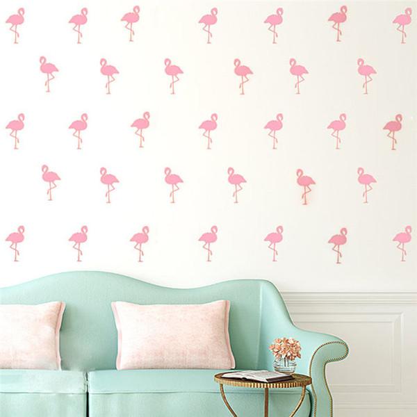 15pcs Mini 5*10cm Flamingo Wall Stickers Bird Decals For Kids Rooms DIY Art Vinyl New Design Home Decor
