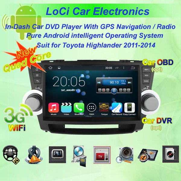 Car dvd Multimedia radio android player for Toyota Highlander 2011- 2014,gps navigation,Pure android 4.4.4, Quad Core
