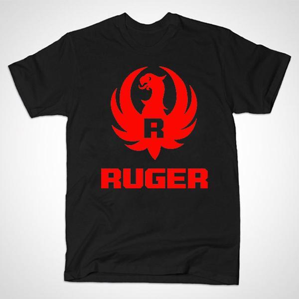 Atacado-frete grátis verão novo Ruger logotipo camisas Pro arma na moda homens estiramento de algodão camisetas arma camiseta manga curta pistola Top Tee