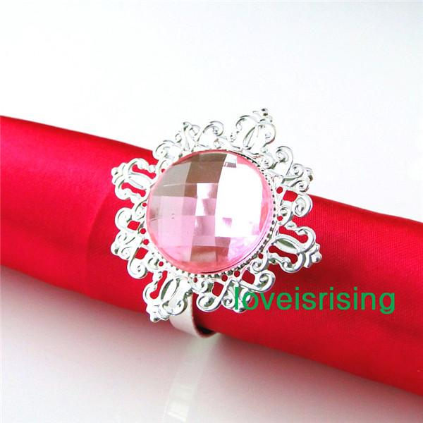 Lowest Price--100% High Quality 50pcs Pink Vintage Style Napkin Rings Wedding Bridal Shower Napkin holder-- Free Shipping