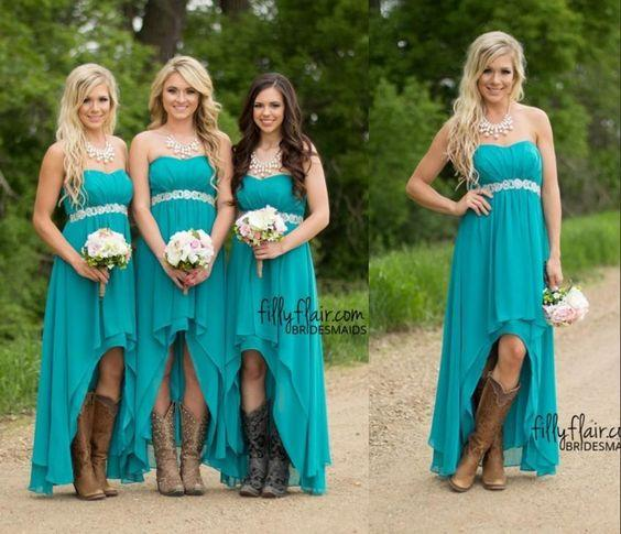 top popular 2020 Turquoise Bridesmaid Dresses for Wedding Cheap High Low Strapless Chiffon Country Maid of Honor Dress Ruffles Beach Formal Gowns New 2021