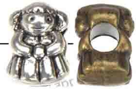 Descobertas Jóias Slider Beads Pandora Encantos Pulseira DIY Grande Buraco Antique Prata Boneca Meninas Atacado Moda de Metal Novo 13 * 10mm 100 pcs