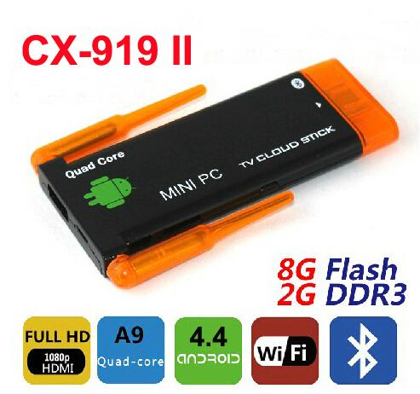10 pcs Dual Antena Sinal Forte CX919 II Quad Core Mini PC Android 4.4 Smart TV vara 2 GB / 8 GB WiFi HDMI Bluetooth CX919II J22