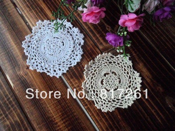 Free shipping handmade 2 color 20 tea port placemats round fashion vase mat vintage crochet decoration mat 13cm doily