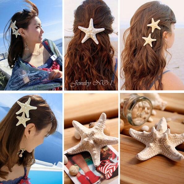 best selling Fashion Wedding hair accessories starfish hair pin sea star hairclip asteroid hair jewelry natural sea star clip hair accessories best gift