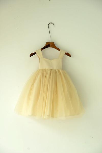 Champagne Flower Girl Dresses Hat Tea Length Sleeves Tulle Skirt Halloween Birthday Easter Bridesmaid Dresses