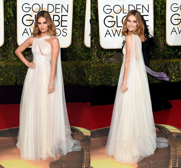 2016 Chiffon Marchesa Celebrity Evening Dresses Lily James Red Carpet  Golden Global Awards Prom Dresses White Backless Formal Evening Gowns