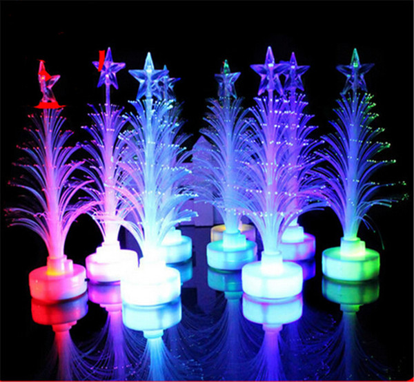 12cm Fiber LED Christmas Tree light Colorful Illuminous Flashing Xmas Tree Nightlight Lamp Outdoor LED Christmas Light Decorations Ornaments