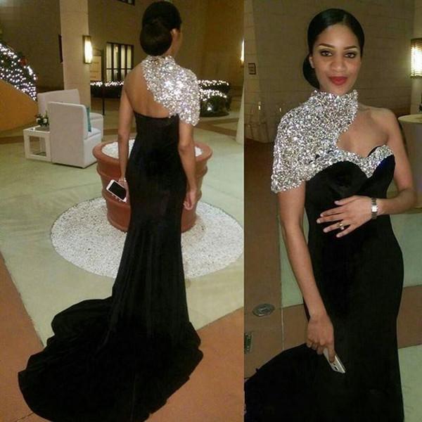 2019 Bling Bling largo negro formal vestidos de noche de la sirena de un hombro cuello alto de lentejuelas Beads terciopelo fiesta de baile vestidos