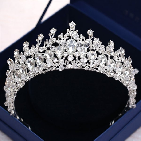Luxury Crystal Jewelry Wedding Crowns Headpieces 2018 Silver Metal Hair Tiaras Headbands For Women Free Shipping Party Bridal Gown