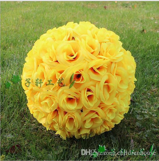 25 cm 10 pollici giallo nuovo artificiale fiore di seta rosa baci palle appese palla per ornamenti di natale decorazioni per feste di nozze forniture