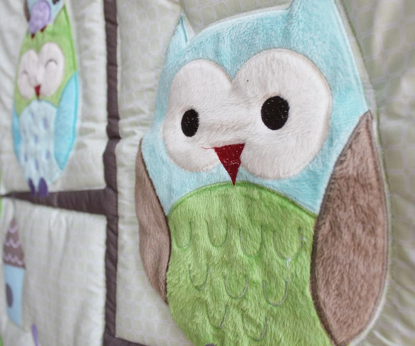 best selling Sale!7Pcs Baby bedding set Embroidery cartoon owls bird hedgehog squirrel Crib bedding set 100% cotton including Baby Quilt etc Cot bedding