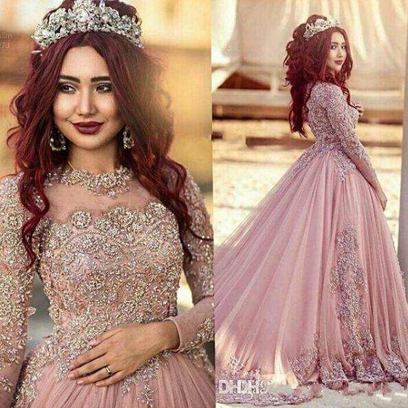 2018 Nuevo vestido de bola rosado polvoriento barato caliente Mangas largas Vestidos de novia Apliques de encaje musulmán Granos de cristal Alfombra roja Vestidos de pista personalizados