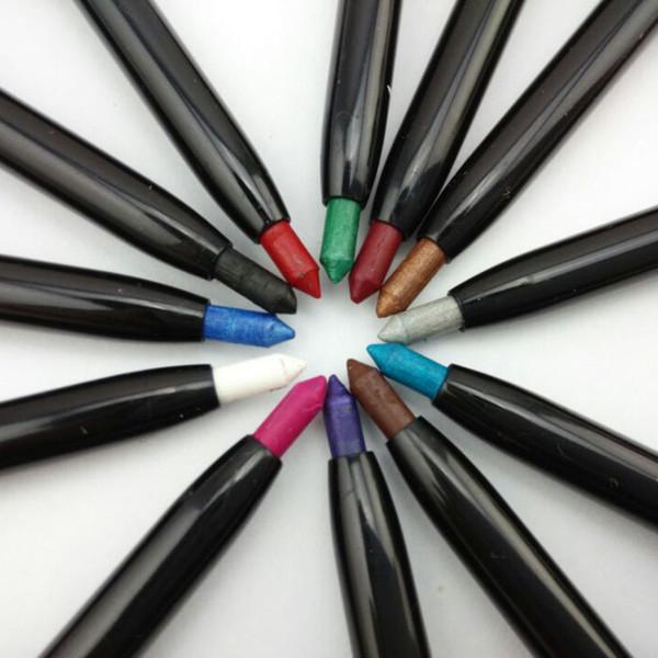 12 Colors Waterproof Eyeshadow Eyeliner Glitter Pencils Eyeliner Makeup Lip Liner Set Waterproof Eyeliner Pencil Eye Shadow Pen 0026MU