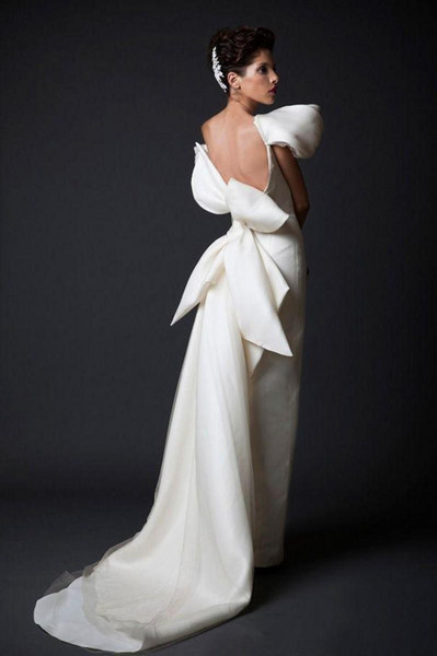Big Bow dubai arabic Women Formal Wear Cheap Unique Design Evening Dresses New White Long Court Train Ruffles Backless Evening Gowns 258