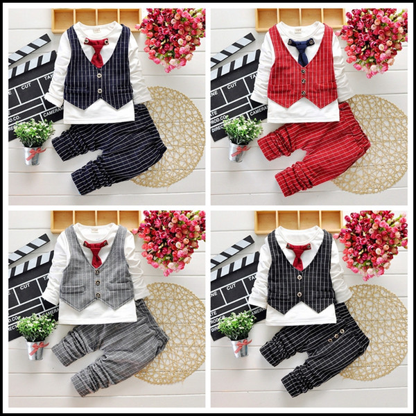 2015 HOT boys gentleman set 2-7Y Children's Autumn Suits clothes Outfits 4pcs T Shirt+Pants+Plaid Vest+Tie free shipping MOQ:24sets SVS0490