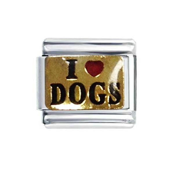 9mm klassische Größe Ich liebe Hunde Nomination Italienisches Charms-Armband mit vergoldeten schwarzen Emaille-Wörtern