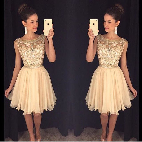 top popular Homecoming Dresses Lace Applique Crystal Beading Short Graduation Dress With Jewel Neck Zip Back Short Length Formal Party Ball Gowns 2020
