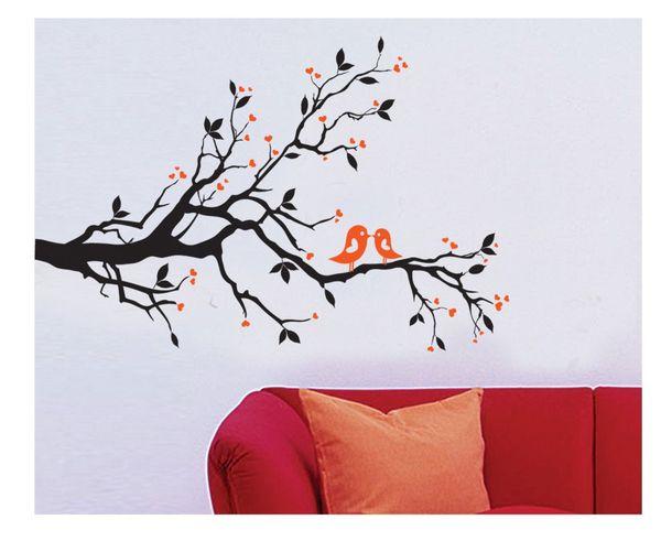 2 CUTE BIRDS ON THE TREE BRANCH Wall Art Wall Sticker Decal Room Art Decal kissing birds