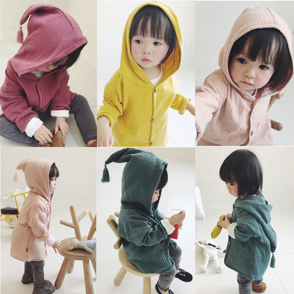 best selling INS Baby Coat Girls Hooded Tassel Princess Outwear Fashion Baby Girls Long Sleeve Cardigan Kids Spring Autumn Clothing