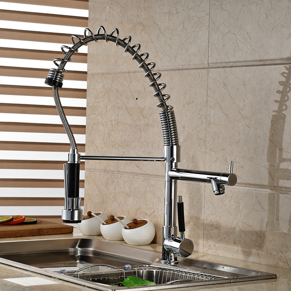 2019 Modern Spring Tall Kitchen Faucet Dual Sprayer Spout Single Handle Deck Mounted Mixer Tap From Gonglangno1 95 48 Dhgate Com