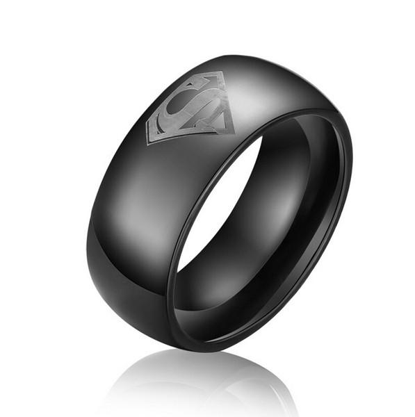 Gravura livre 8mm preto de aço de tungstênio Superman anel Super Man jóias Superman Tungsten Wedding Band anel de noivado