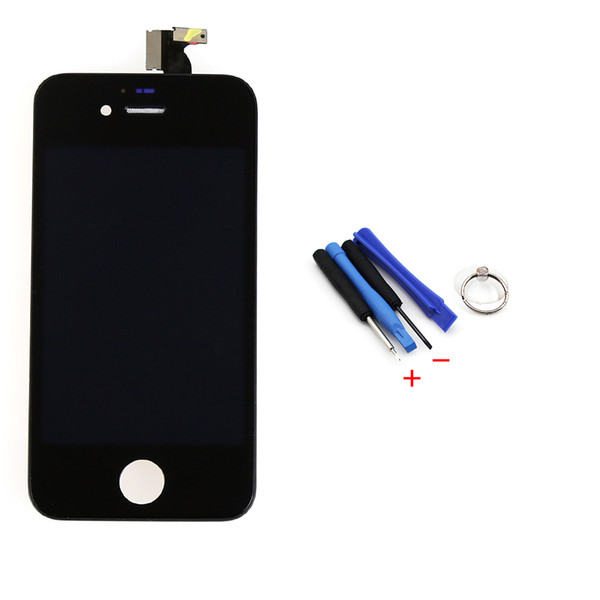 Wholesale-New Black Outer Glass+LCD Display +Touch Screen Digitizer Assembly+Tools Replacement Case for iPhone 4 4G, free shipping