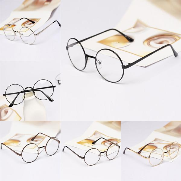 Wholesale-Womens Mens Retro Round Metal Frame Clear Lens Glasses Nerd Spectacles Eyeglass hot