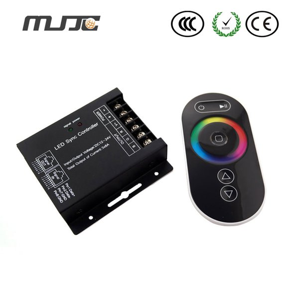 MJJC Touch Panel LED Controller 12-24V 24A 288W 3Channel RF Wireless Remote Control For Waterproof RGB Led Strip Light