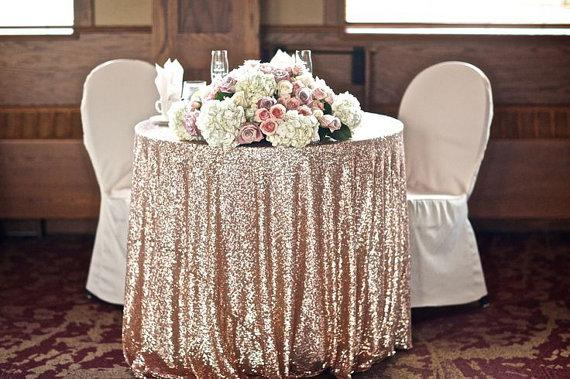 108'' Round Champagne Sequin Tablecloth Table Overlay For Wedding Beautiful Table Overlay Christmas Decoration