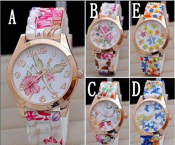 Hot Silicon Strap Beautiful Rose Flower Blue and white porcelain Super Design Geneva Wrist Watch for Wome students Girls 1551