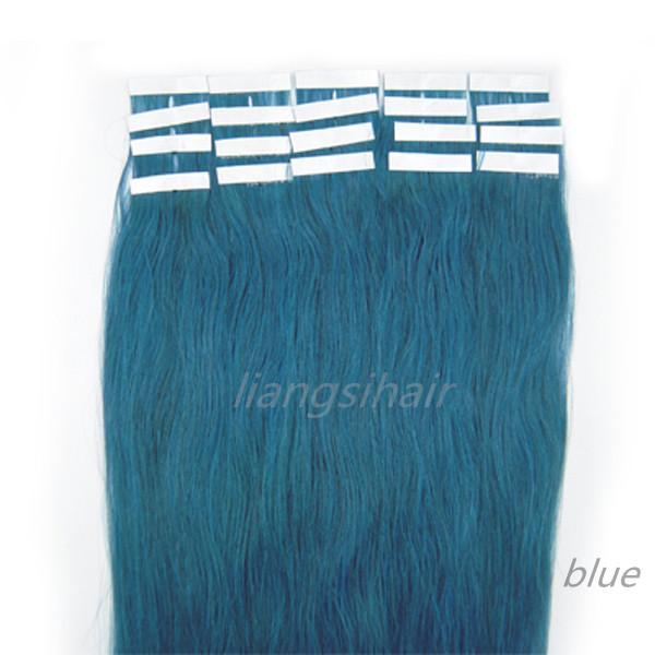 "18""-22"" 20pcs/set Blue Color 1 Set Straight Tape Skin Weft Brazilian Indian Malaysian Peruvian Remy Human Hair Extension"