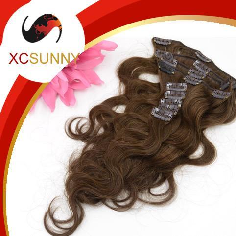 XCSUNNY Brazilian Virgin Hair Clip Ins Clip In Remy Human Hair Extensions Full Head #4 Brown Body Wave Grade A 90-130g(9pcs)/set