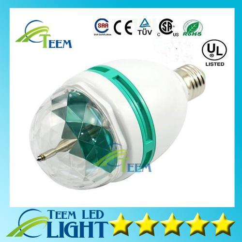 Epcket Envío gratis 3W E27 RGB iluminación a todo color LED Crystal Stage Light Auto efecto giratorio Stage DJ lamp mini Stage Light Bulb
