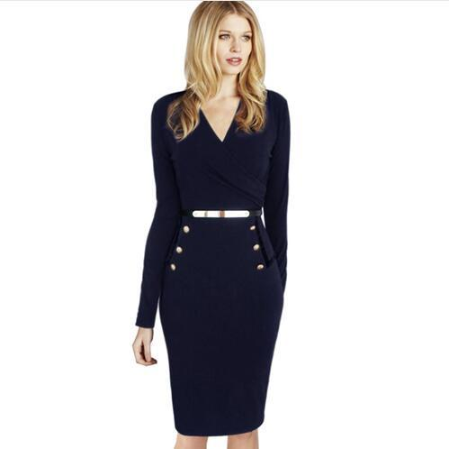 Nice Womens 2017 Fall Elegant Long Sleeve Faux Wrap Ruched Belted Button Wear to Work Business Casual Party Sheath Dress