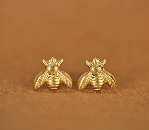 10Pair Gold Silver Honey Bee Earrings Tiny Honeybee Stud Earrings Woodland Insect fly bird honey Bumble Bee Stud Earrings