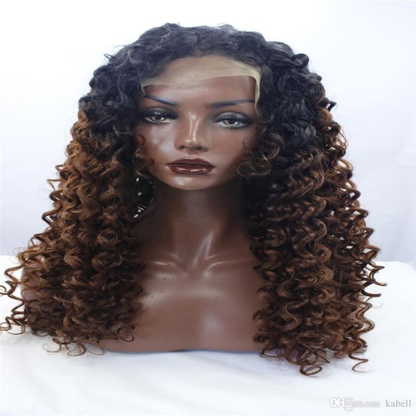 LACE FRONT DLME Natural candeggina nodi ombre marrone # 1/30 colore afro crespi ricci parrucche misto 180% breve parrucca sintetica capelli pizzo anteriore