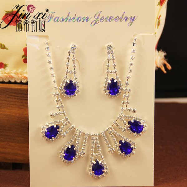 In Stock Cheap Rhinestones Party Crystal Two Sets Bling Wedding Accessories Bridal Hair Headdress Gift Diamond Necklace Jewelry Earrings