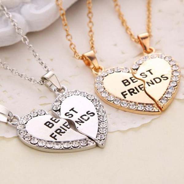 93a8a486e N2022 Charming Matching Heart-shaped Pendant Necklace Best Friend a Letter  Women Gifts 2 Color