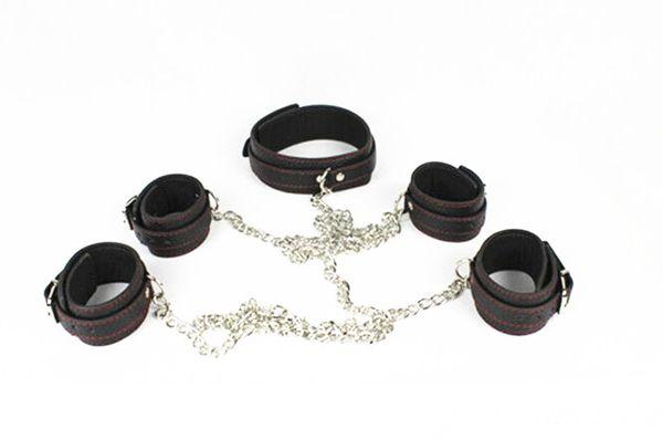 Adult Sex Fetish Bondage Toy Collar Wrist Cuffs Ankle Cuffs BDSM Body Restraint Toy For Her