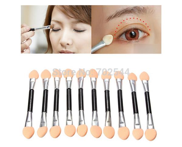 Cepillo aplicador de maquillaje de sombra de ojos de maquillaje de ojos desechables de doble cabezal de esponja (1000 unidades / lote) + envío gratuito