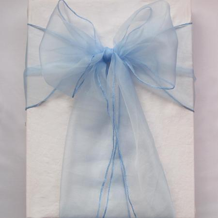 50 Light Blue Organza Crystal Chair Sashes Sample Fabric Roll wedding Sash Bow Gift Party Free NEW -SASH