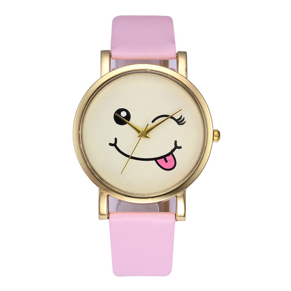 New Arrival Christmas Gift 6 Colors Cute Face Gold Shell Leather Belt Wristwatch Watch for Men Women Children