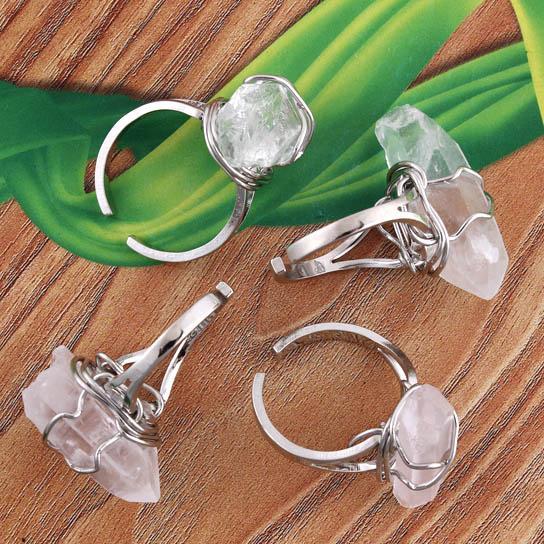 Charm Mini Rock Crystal Quartz Irregularity Natural Stone Adjustable Rings Accessories Silver Plated Fashion Jewelry 10Pcs