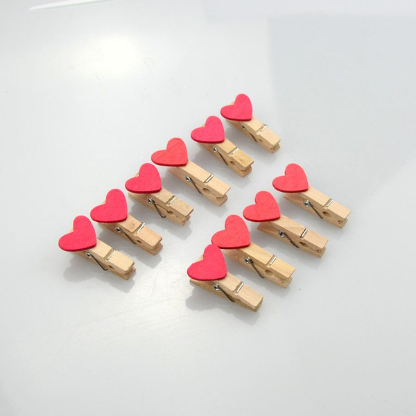 Favore della carta del regalo della festa nuziale di 100Pcs Rose Red Mini Heart Shape di legno all'ingrosso di forma