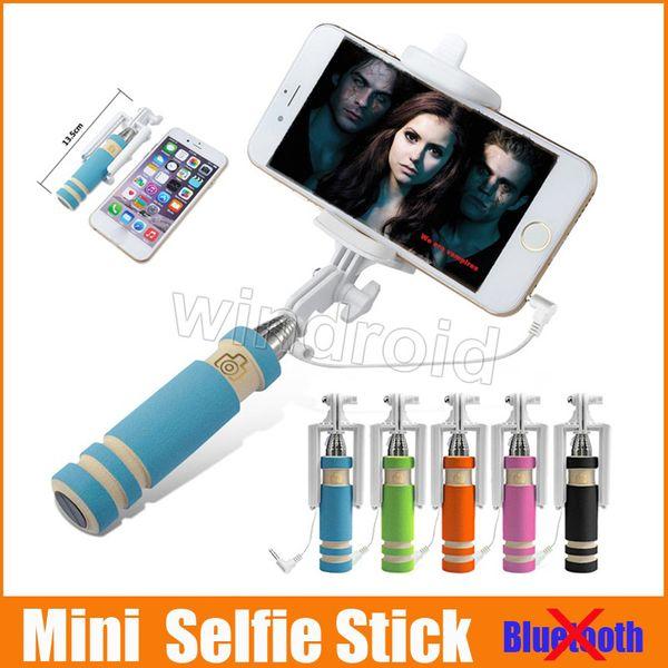 Mini portátil selfie telefone celular vara titular tudo em um cabo de tomada de controle com fio monopé para iphone samsung frete grátis 100 pcs