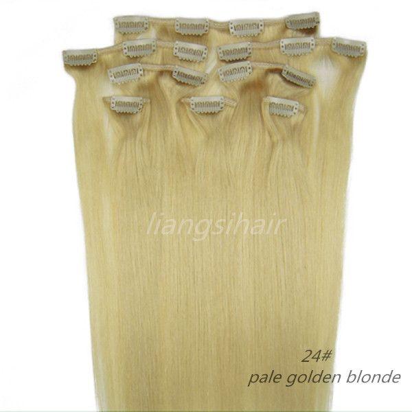 "Peruvian Clip in Hair 7A Grade 4sets Brazilian Indian Peruvian Malaysian Virgin Remy Human Hair styles 18""-26"" 8pcs 24# pale golden Blonde"