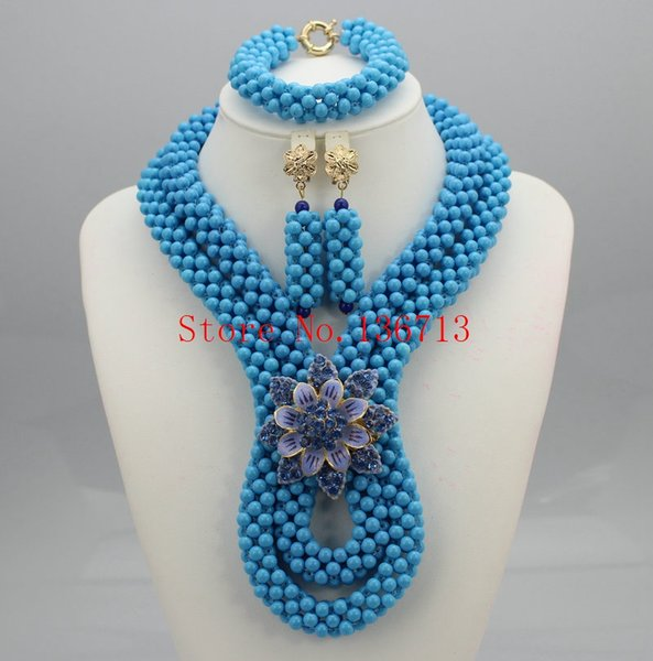 Fashionable! Nigerian Wedding African Beads Jewelry Set Crystal Coral color mixed gold champagne drop earrings HT204-5